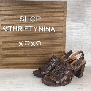 Clark's artisan brown leather woven heel sandals